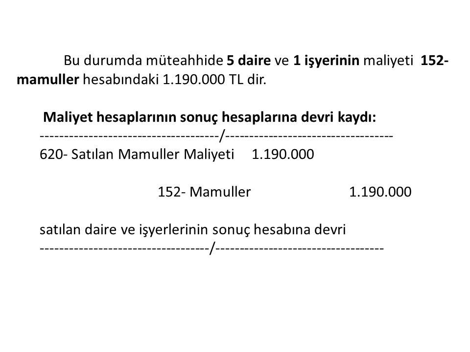 Bu durumda müteahhide 5 daire ve 1 işyerinin maliyeti 152- mamuller hesabındaki 1.190.000 TL dir.