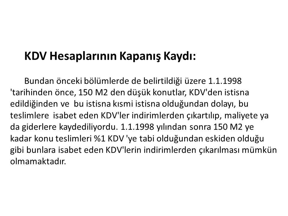 KDV Hesaplarının Kapanış Kaydı: