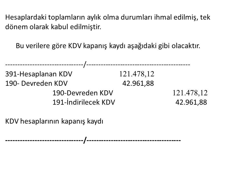 Hesaplardaki toplamların aylık olma durumları ihmal edilmiş, tek dönem olarak kabul edilmiştir.