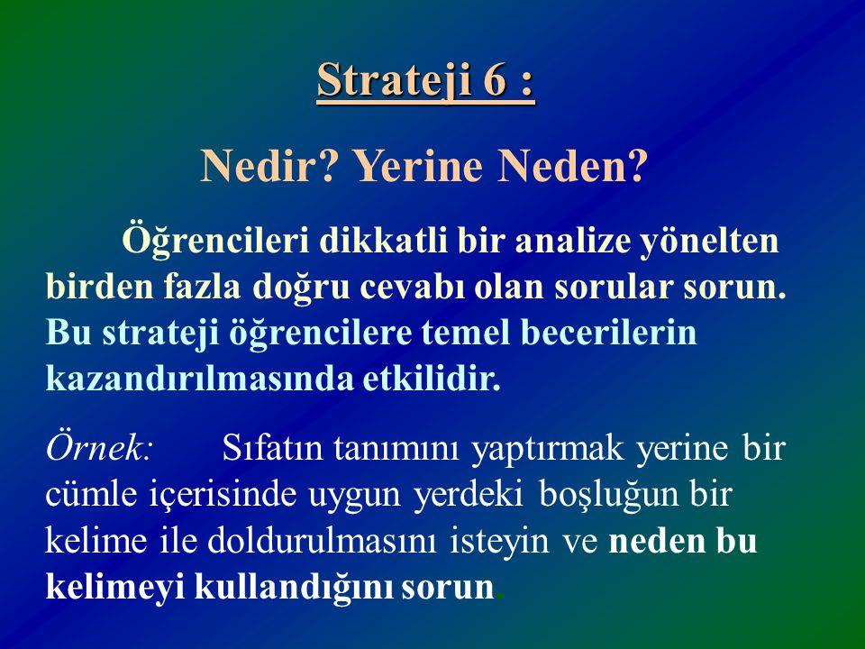 Strateji 6 : Nedir Yerine Neden