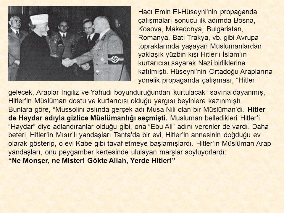Hacı Emin El-Hüseyni'nin propaganda çalışmaları sonucu ilk adımda Bosna, Kosova, Makedonya, Bulgaristan, Romanya, Batı Trakya, vb. gibi Avrupa topraklarında yaşayan Müslümanlardan yaklaşık yüzbin kişi Hitler'i İslam'ın kurtarıcısı sayarak Nazi birliklerine katılmıştı. Hüseyni'nin Ortadoğu Araplarına yönelik propaganda çalışması, Hitler