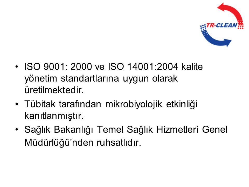 ISO 9001: 2000 ve ISO 14001:2004 kalite yönetim standartlarına uygun olarak üretilmektedir.