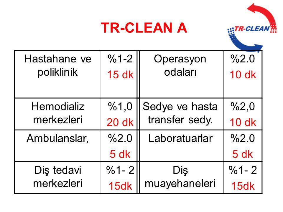TR-CLEAN A Hastahane ve poliklinik %1-2 15 dk Hemodializ merkezleri