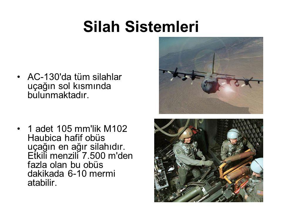 Silah Sistemleri AC-130 da tüm silahlar uçağın sol kısmında bulunmaktadır.