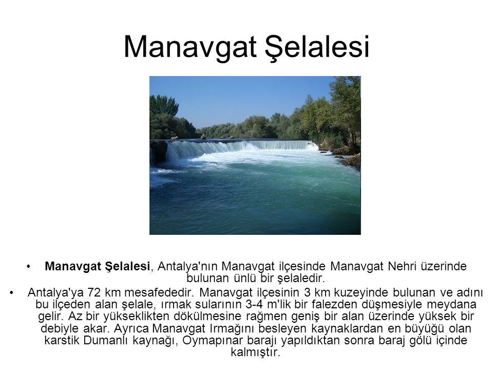 Manavgat Şelalesi Manavgat Şelalesi, Antalya nın Manavgat ilçesinde Manavgat Nehri üzerinde bulunan ünlü bir şelaledir.