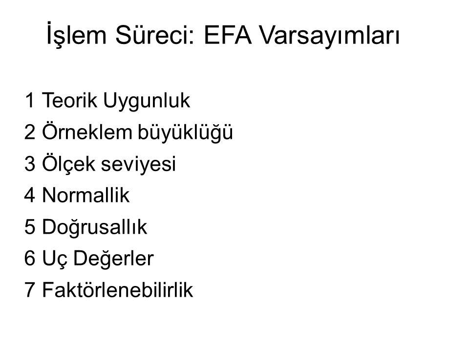 İşlem Süreci: EFA Varsayımları