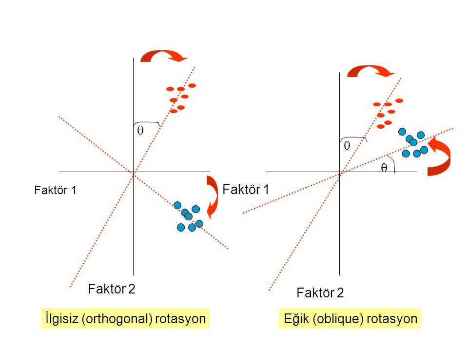 İlgisiz (orthogonal) rotasyon Eğik (oblique) rotasyon