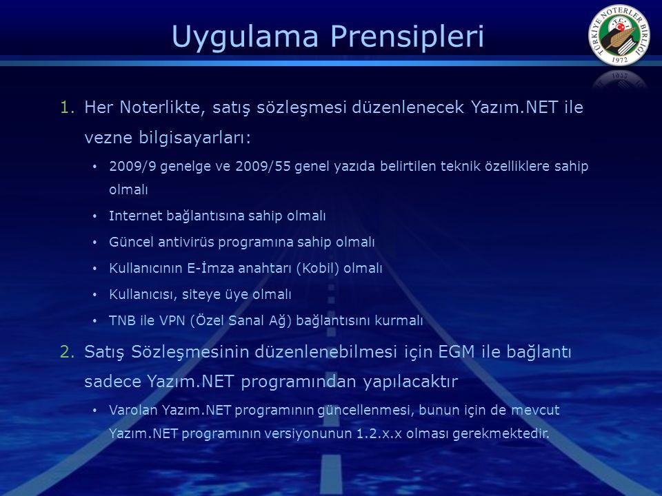 Uygulama Prensipleri Her Noterlikte, satış sözleşmesi düzenlenecek Yazım.NET ile vezne bilgisayarları: