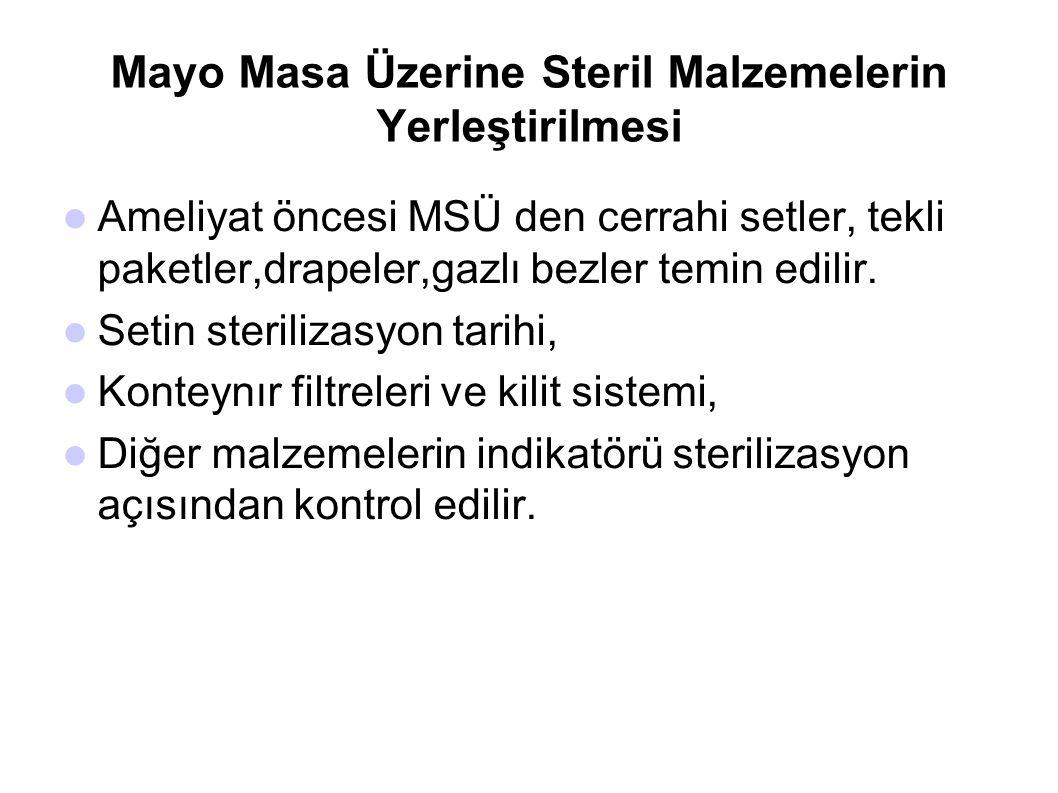 Mayo Masa Üzerine Steril Malzemelerin Yerleştirilmesi