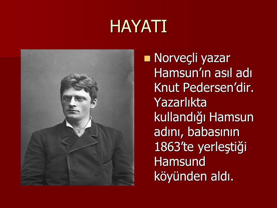 HAYATI Norveçli yazar Hamsun'ın asıl adı Knut Pedersen'dir.