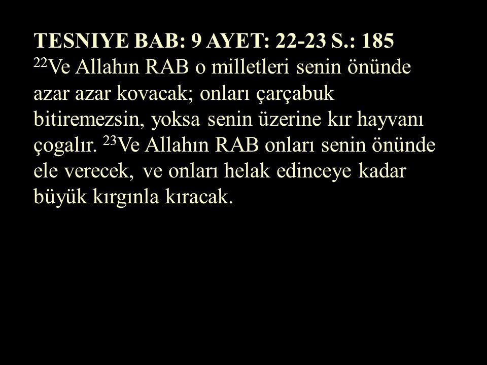 TESNIYE BAB: 9 AYET: 22-23 S.: 185