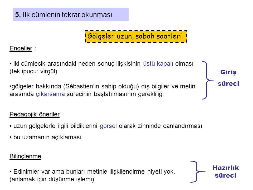 5. İlk cümlenin tekrar okunması