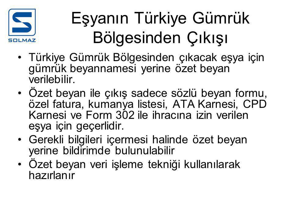 Eşyanın Türkiye Gümrük Bölgesinden Çıkışı