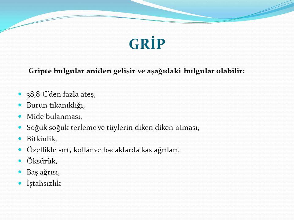 GRİP Gripte bulgular aniden gelişir ve aşağıdaki bulgular olabilir: