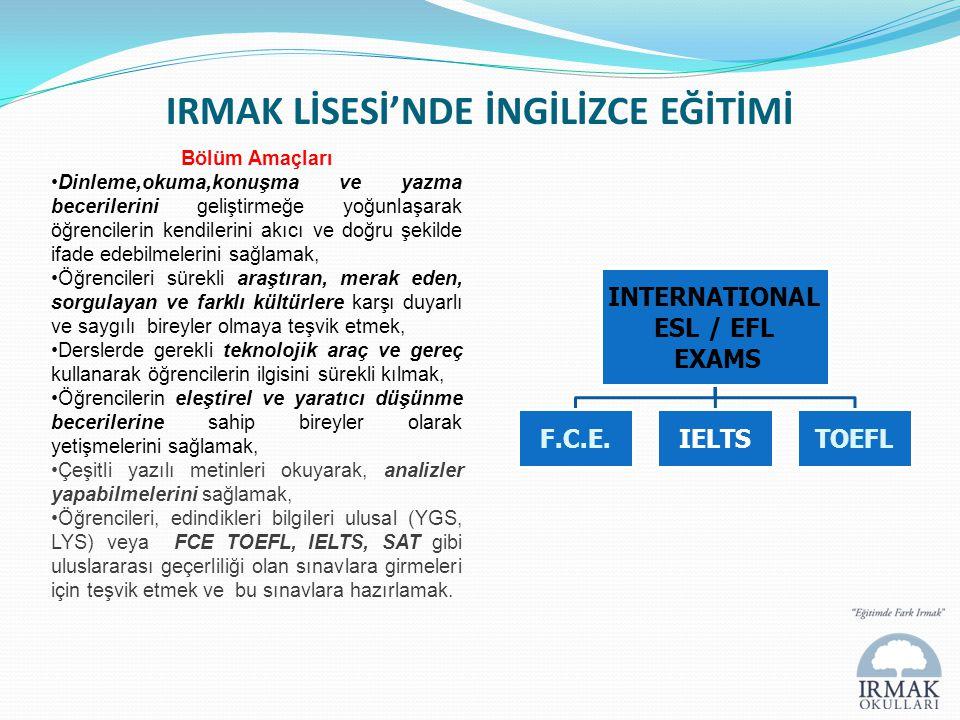 IRMAK LİSESİ'NDE İNGİLİZCE EĞİTİMİ