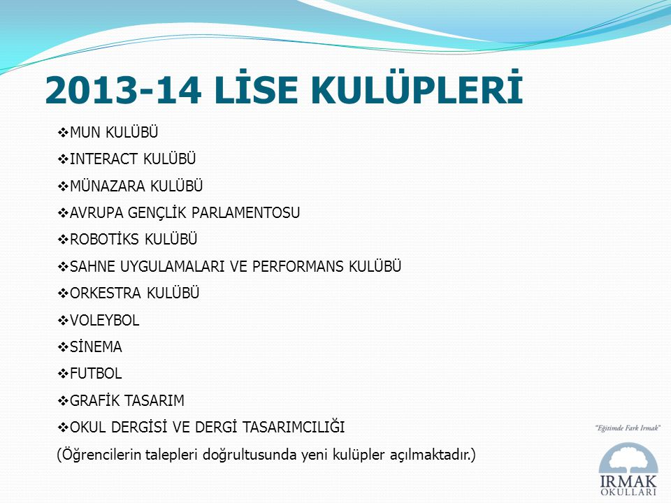 2013-14 LİSE KULÜPLERİ MUN KULÜBÜ INTERACT KULÜBÜ MÜNAZARA KULÜBÜ