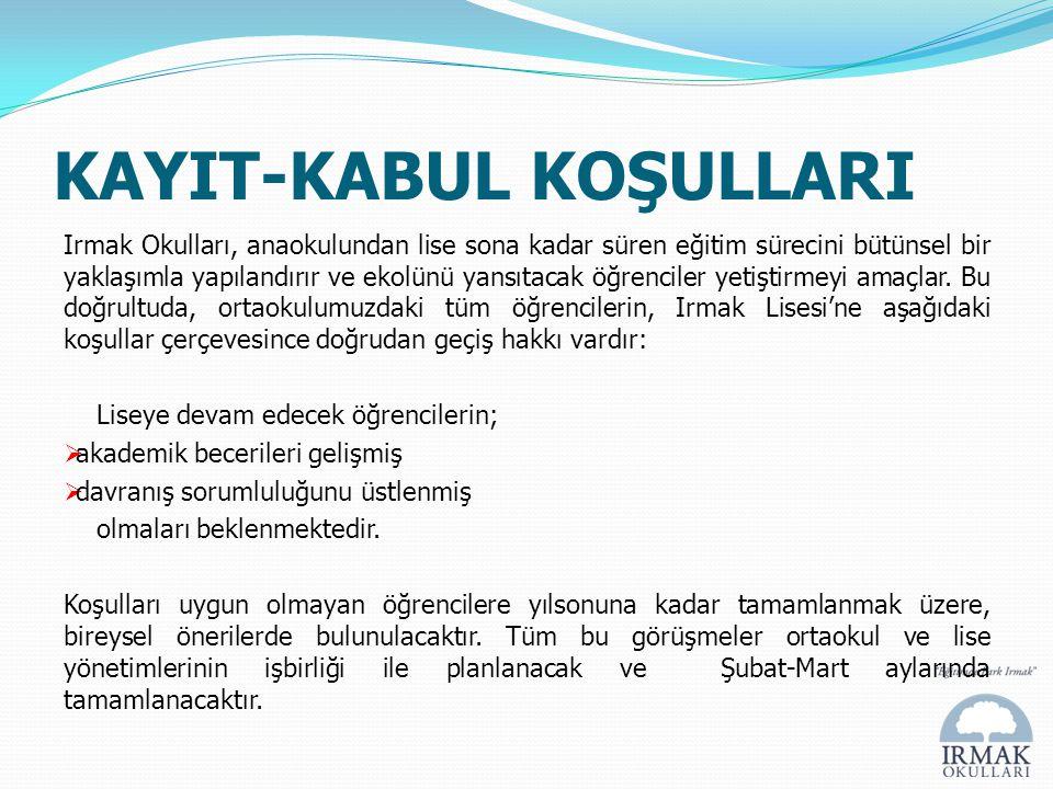 KAYIT-KABUL KOŞULLARI