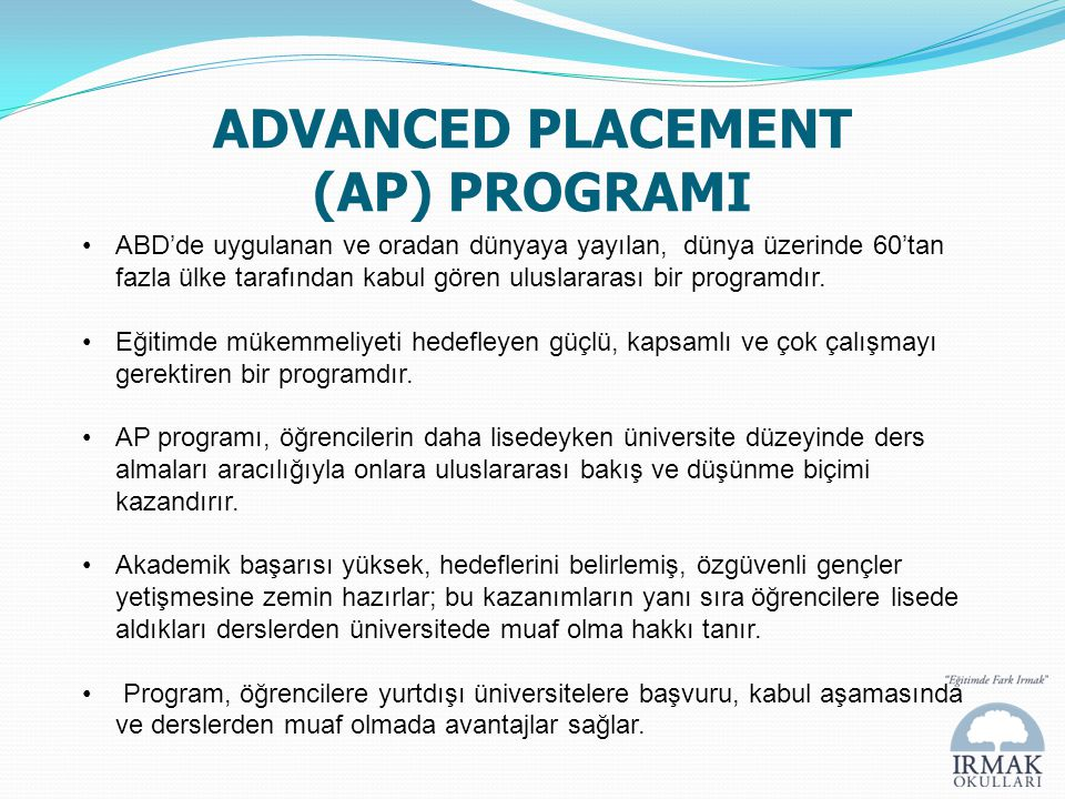 ADVANCED PLACEMENT (AP) PROGRAMI