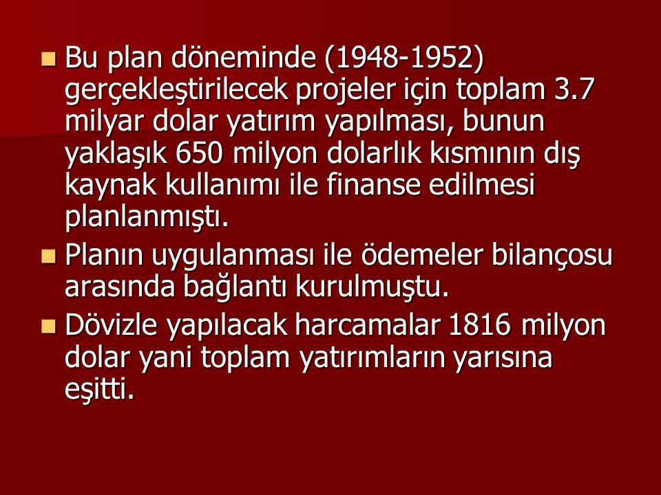 Bu plan döneminde (1948-1952) gerçekleştirilecek projeler için toplam 3.7 milyar dolar yatırım yapılması, bunun yaklaşık 650 milyon dolarlık kısmının dış kaynak kullanımı ile finanse edilmesi planlanmıştı.