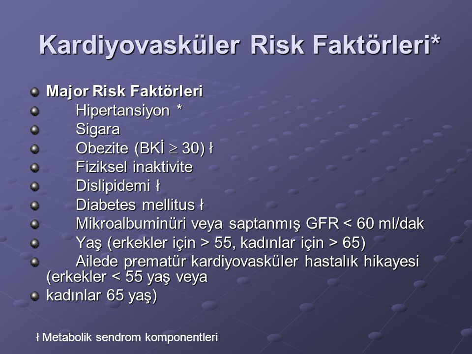 Kardiyovasküler Risk Faktörleri*