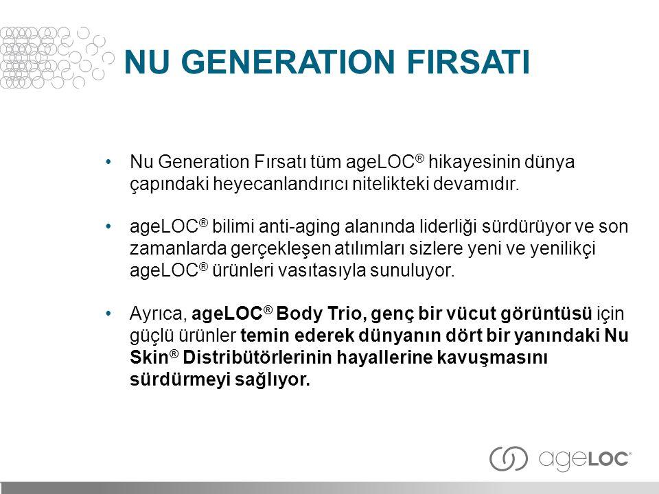 NU GENERATION FIRSATI Nu Generation Fırsatı tüm ageLOC® hikayesinin dünya çapındaki heyecanlandırıcı nitelikteki devamıdır.