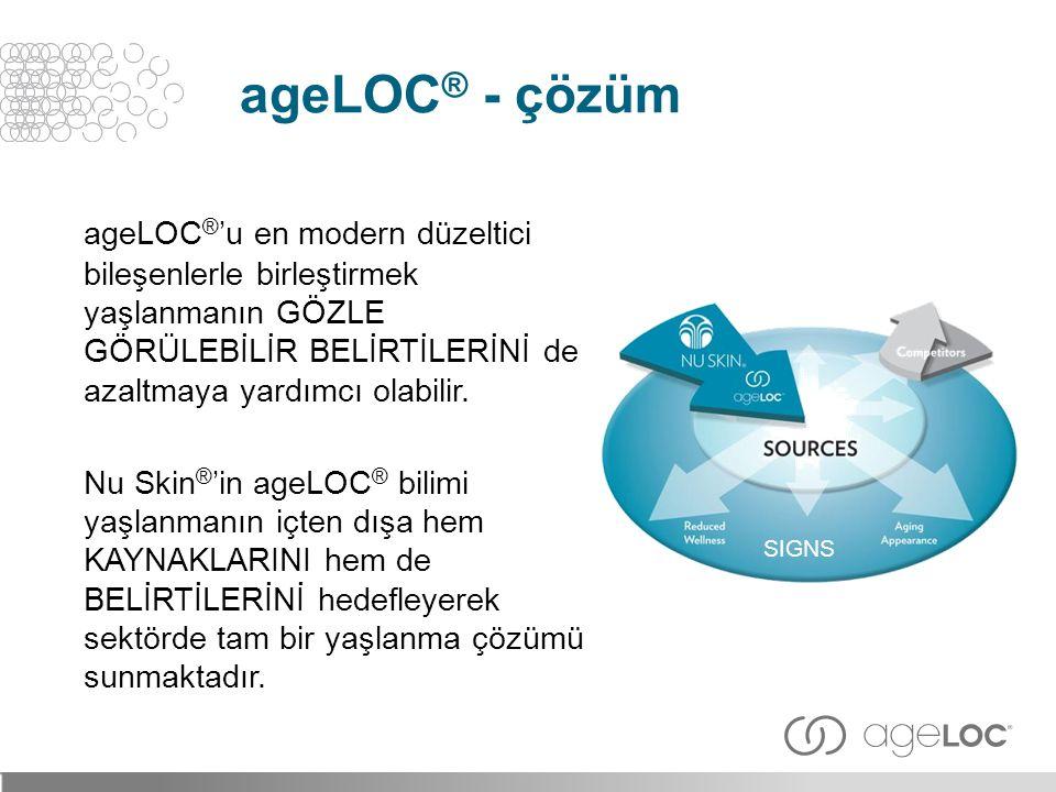 ageLOC® - çözüm ageLOC®'u en modern düzeltici bileşenlerle birleştirmek yaşlanmanın GÖZLE GÖRÜLEBİLİR BELİRTİLERİNİ de azaltmaya yardımcı olabilir.