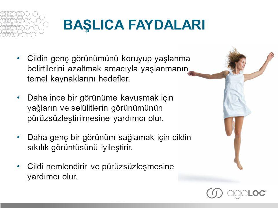 BaşlIca FaydalarI Cildin genç görünümünü koruyup yaşlanma belirtilerini azaltmak amacıyla yaşlanmanın temel kaynaklarını hedefler.