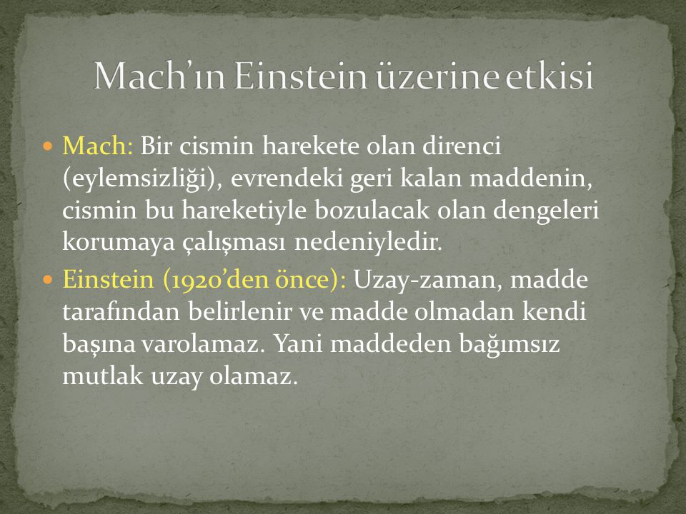 Mach'ın Einstein üzerine etkisi