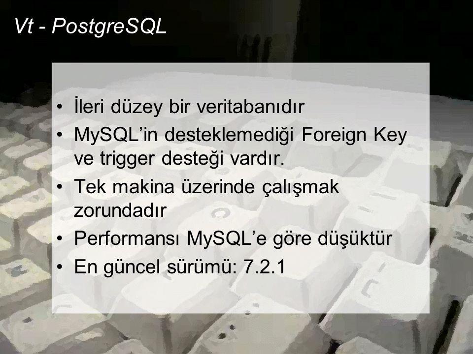 Vt - PostgreSQL İleri düzey bir veritabanıdır