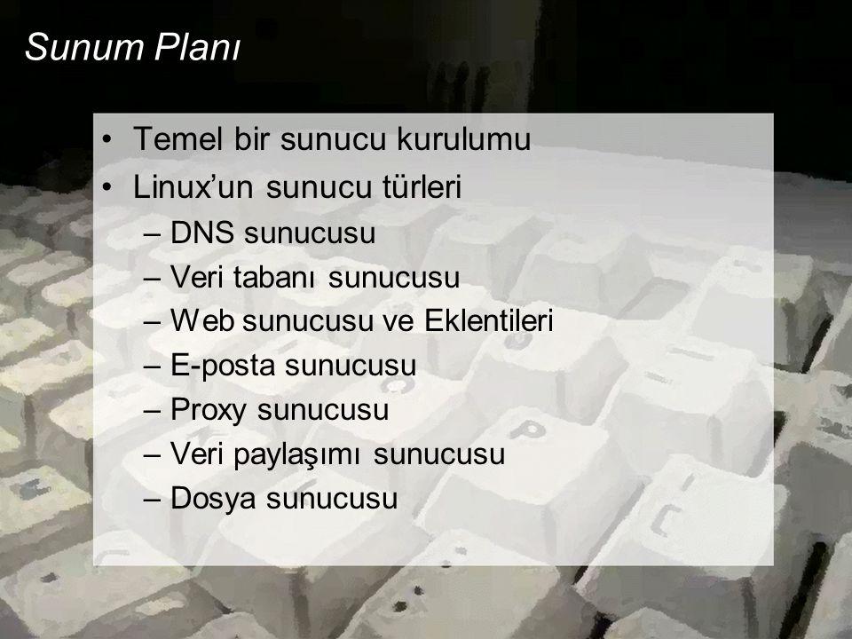 Sunum Planı Temel bir sunucu kurulumu Linux'un sunucu türleri