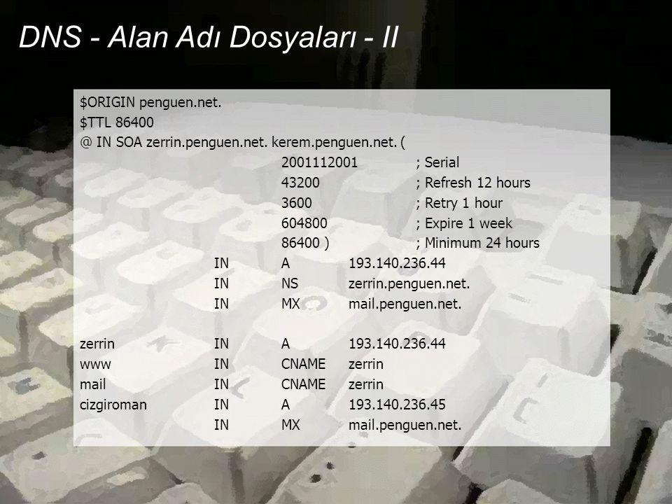 DNS - Alan Adı Dosyaları - II