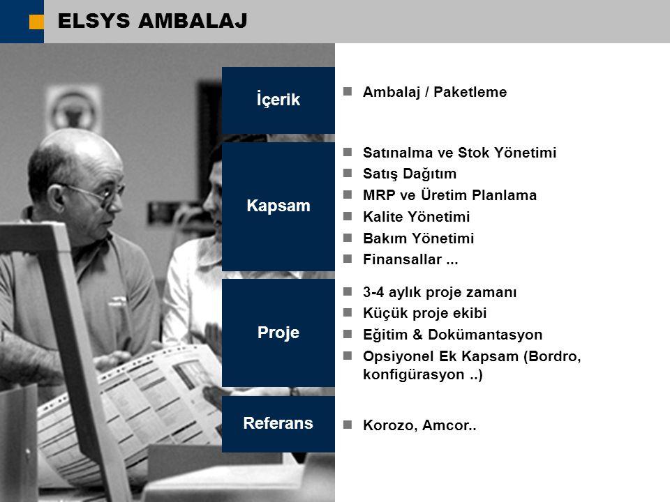 ELSYS AMBALAJ İçerik Kapsam Proje Referans Ambalaj / Paketleme