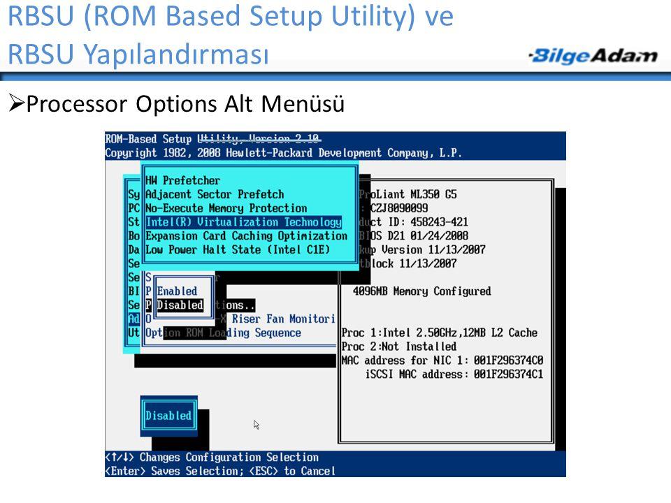 RBSU (ROM Based Setup Utility) ve RBSU Yapılandırması