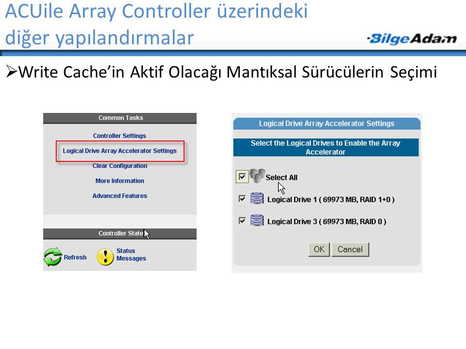 ACUile Array Controller üzerindeki diğer yapılandırmalar