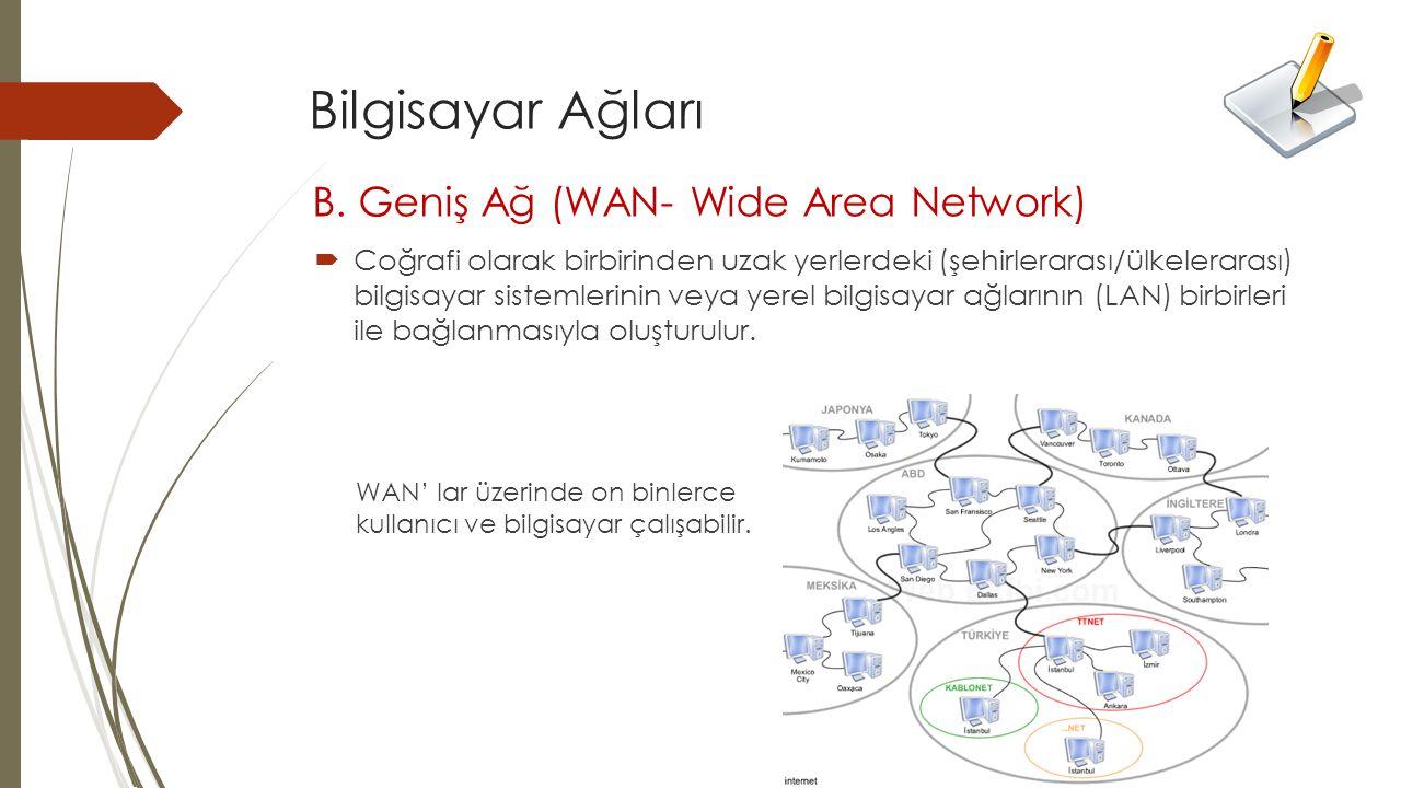 Bilgisayar Ağları B. Geniş Ağ (WAN- Wide Area Network)