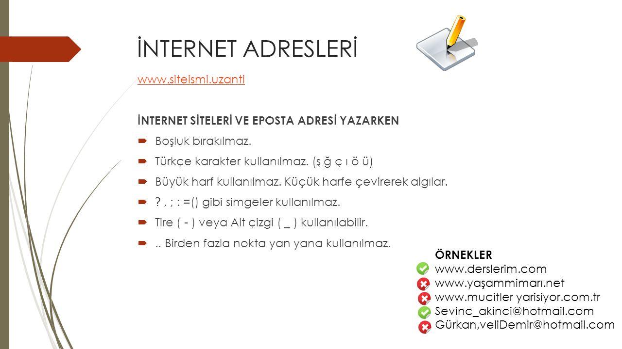 İNTERNET ADRESLERİ www.siteismi.uzanti