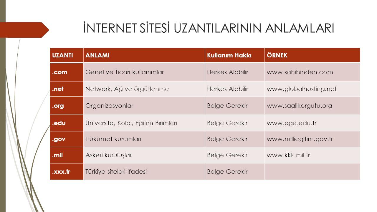 İNTERNET SİTESİ UZANTILARININ ANLAMLARI