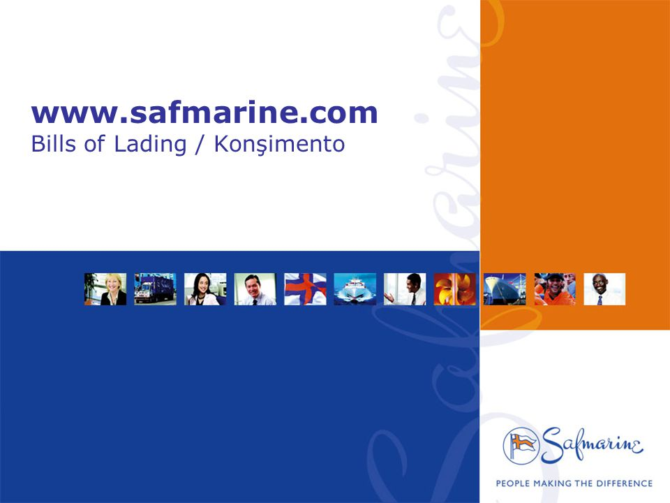 www.safmarine.com Bills of Lading / Konşimento
