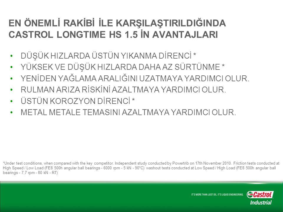 EN ÖNEMLİ RAKİBİ İLE KARŞILAŞTIRILDIĞINDA CASTROL LONGTIME HS 1