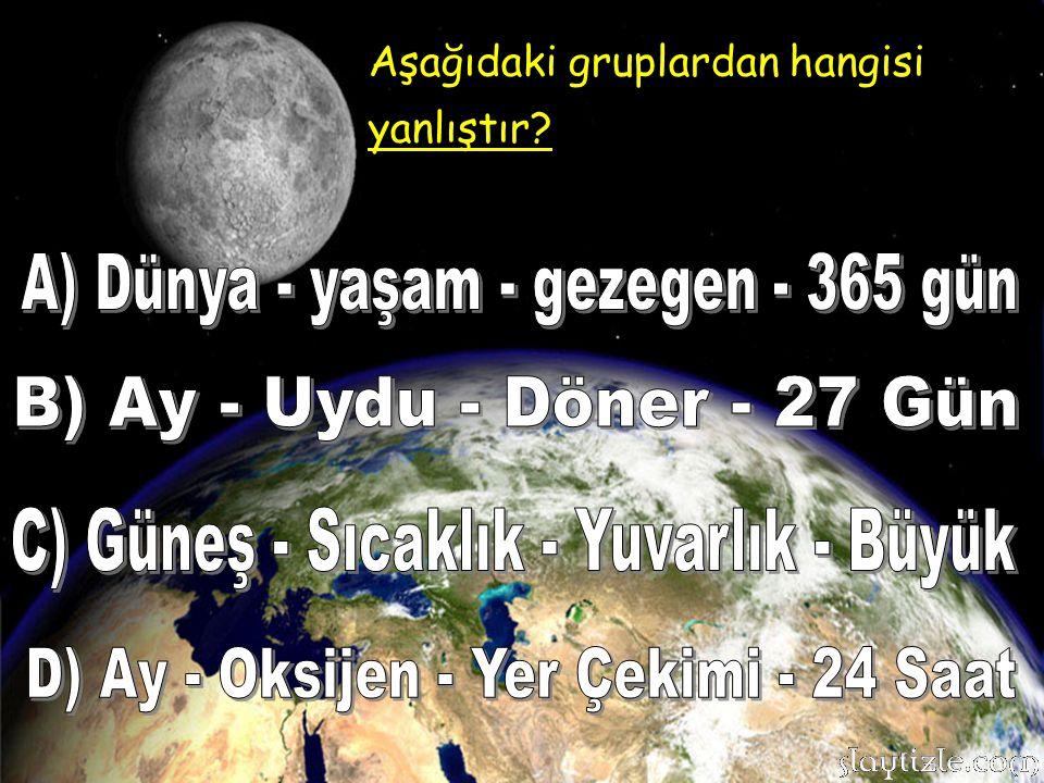 A) Dünya - yaşam - gezegen - 365 gün