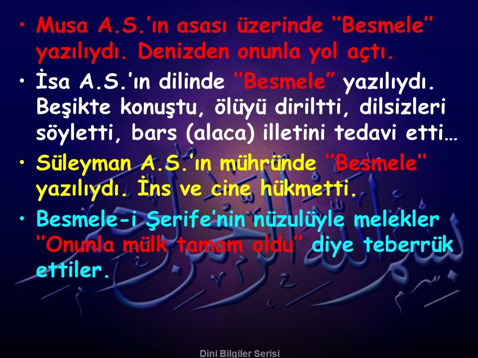 Süleyman A.S.'ın mühründe ''Besmele'' yazılıydı. İns ve cine hükmetti.