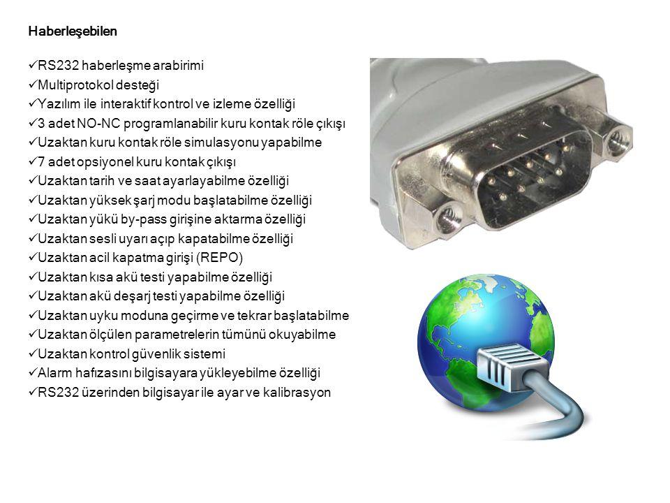 Haberleşebilen RS232 haberleşme arabirimi. Multiprotokol desteği. Yazılım ile interaktif kontrol ve izleme özelliği.