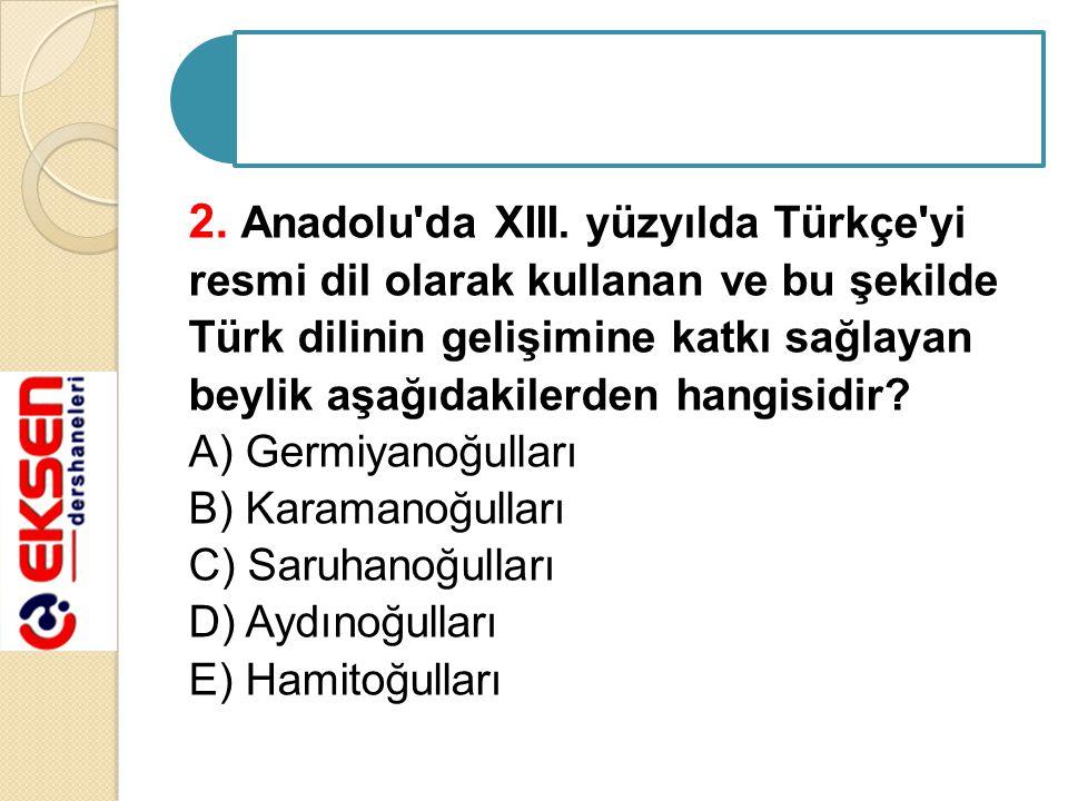 2. Anadolu da XIII. yüzyılda Türkçe yi