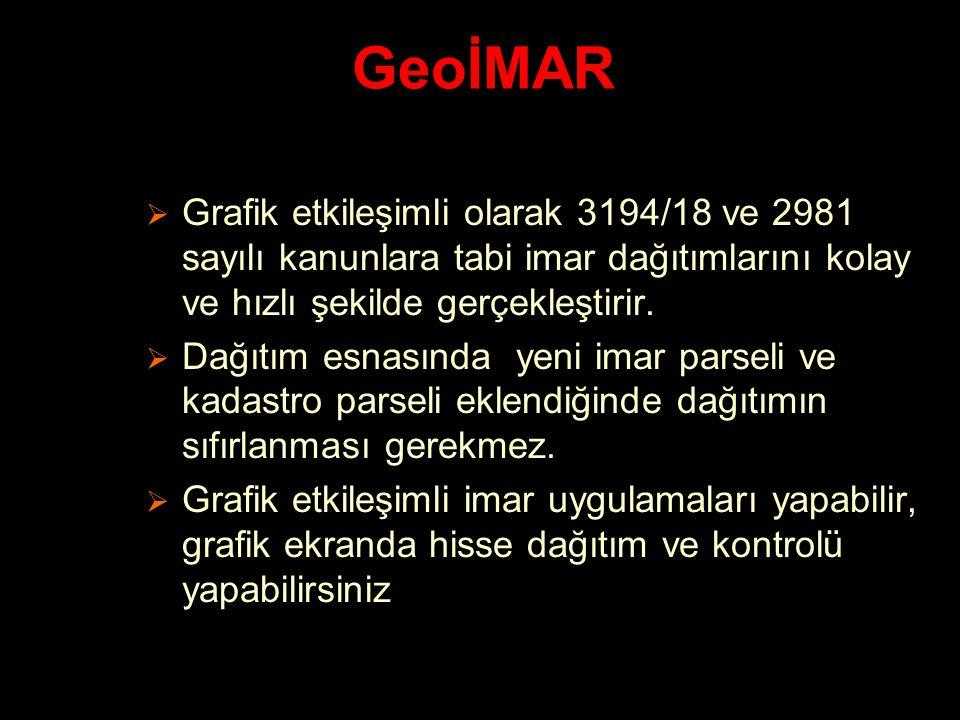 GeoİMAR Grafik etkileşimli olarak 3194/18 ve 2981 sayılı kanunlara tabi imar dağıtımlarını kolay ve hızlı şekilde gerçekleştirir.