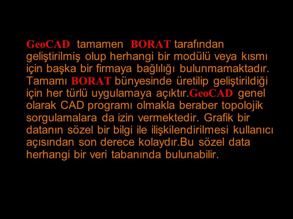 GeoCAD tamamen BORAT tarafından geliştirilmiş olup herhangi bir modülü veya kısmı için başka bir firmaya bağlılığı bulunmamaktadır.