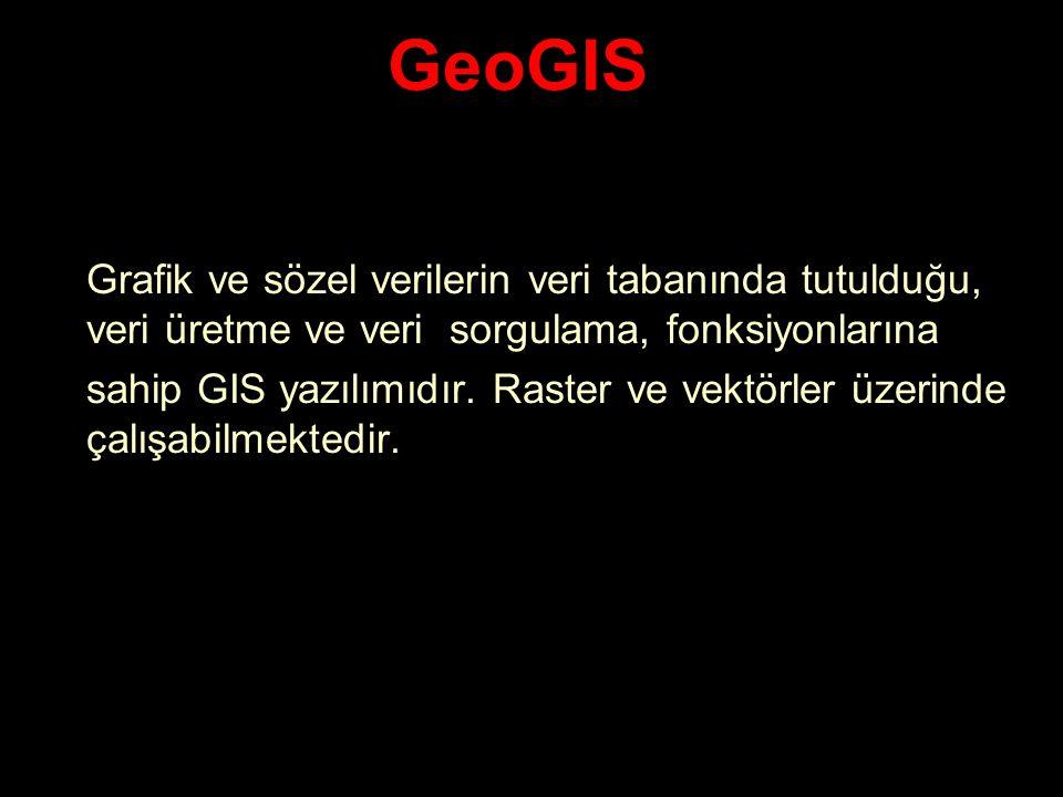 GeoGIS Grafik ve sözel verilerin veri tabanında tutulduğu, veri üretme ve veri sorgulama, fonksiyonlarına.