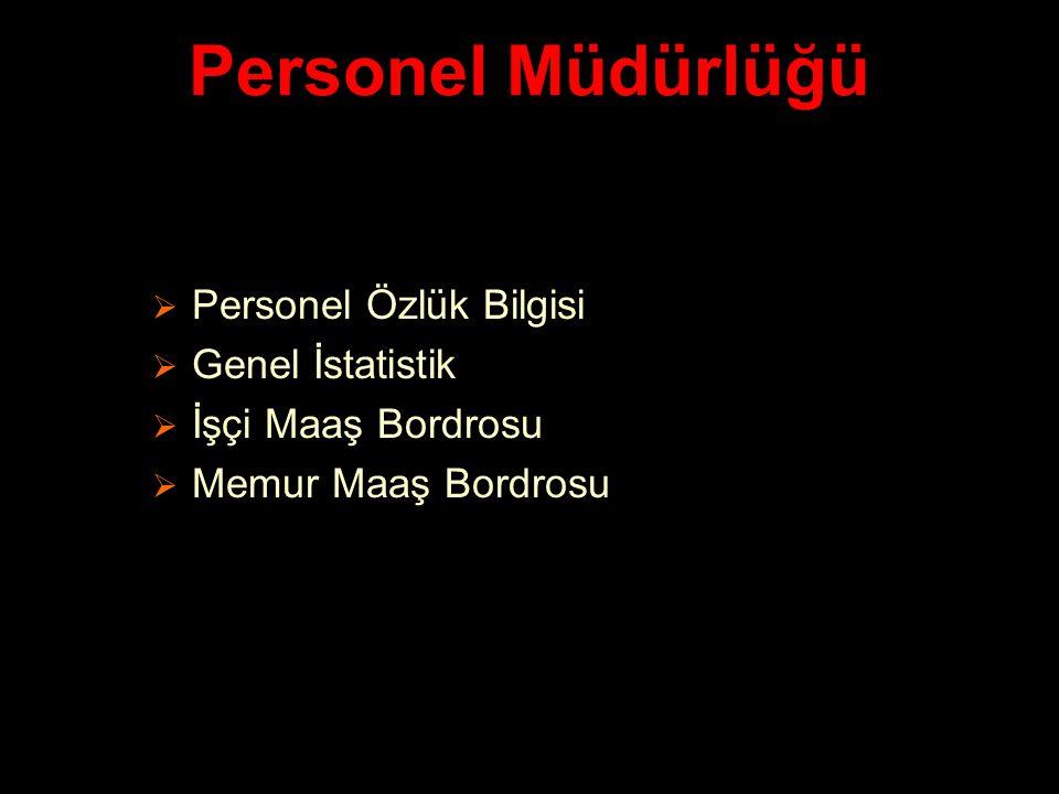 Personel Müdürlüğü Personel Özlük Bilgisi Genel İstatistik