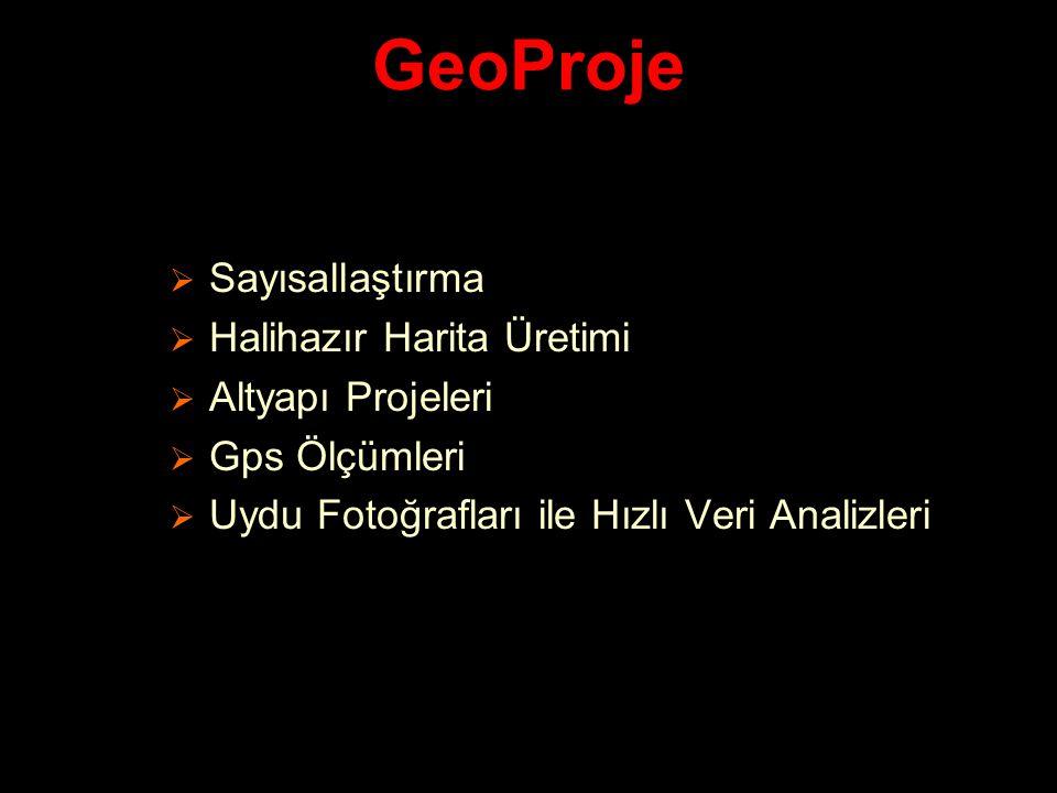 GeoProje Sayısallaştırma Halihazır Harita Üretimi Altyapı Projeleri