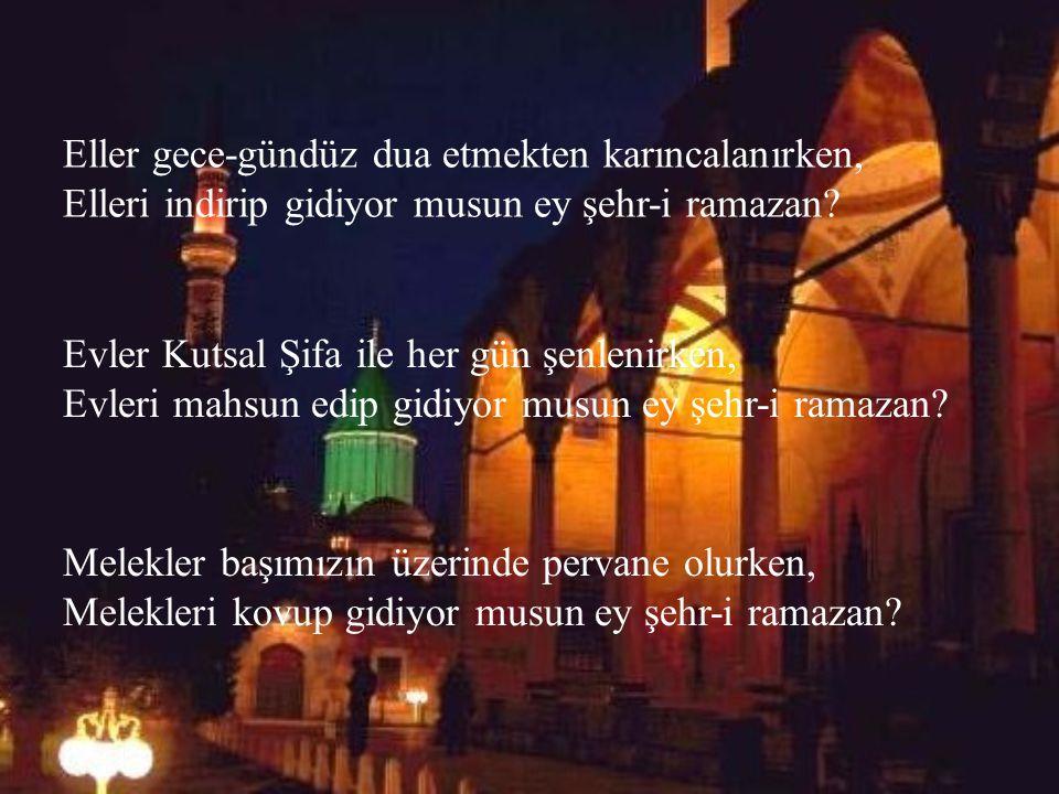 Eller gece-gündüz dua etmekten karıncalanırken, Elleri indirip gidiyor musun ey şehr-i ramazan