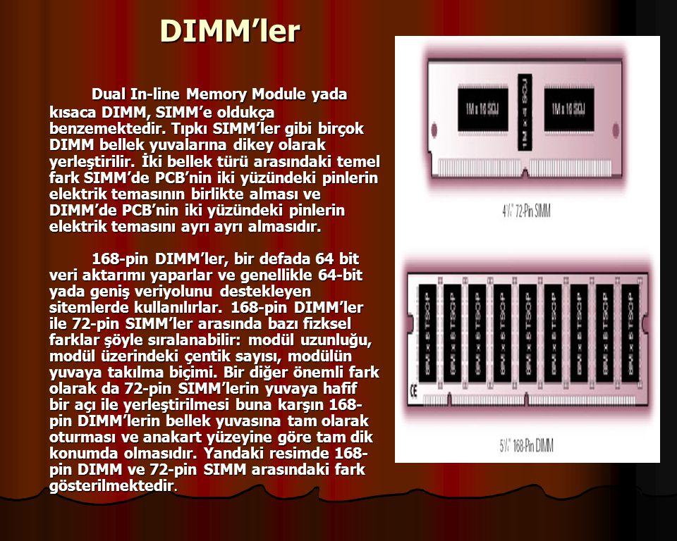 DIMM'ler Dual In-line Memory Module yada kısaca DIMM, SIMM'e oldukça benzemektedir.